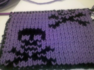 I don't have any pics of this finished, but it was a 2-sided skull scarf for my oldest. The opposite side had a black background with purple skulls.